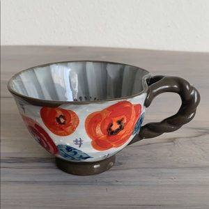 Anthropologie red rose and gray coffee mug tea cup